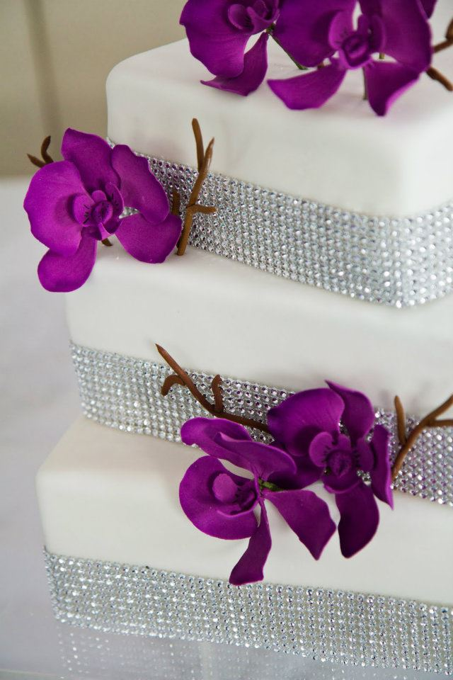 Cake Beaded Jewels and Purple Flowers