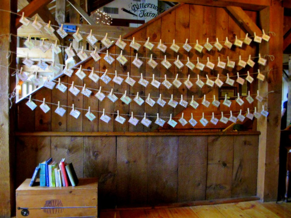 Place Card Display on Clothes Pins and Clothes Lines