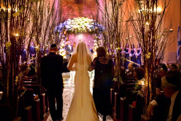 Walking Down The Isle Jewish Wedding Indoors
